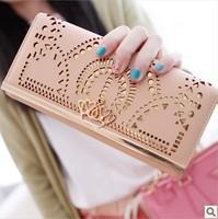 2014 new arrival  elegant fashion geometry cutout gold bordered design women's long wallets women purse free shipping