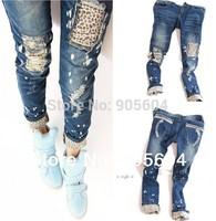2015 Spring Trendy Fashion Designer Women's Casual Skinny Leopard Hole Slim Pencil Jeans Pants Ladies Denim Trousers Tights