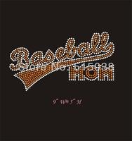 DHL Free shipping 40pcs/Lot  Baseball mom wholesale rhinestone heat transfer for tshirt