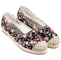 2014 NEW women shoes Round head embroidered shoes with flat sole Single shoes canvas shoes Han edition tide female cloth shoes