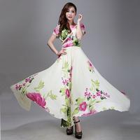 2014 Spring summer casual flower print ultra long dress chiffon long design expansion bottom short-sleeve full dress