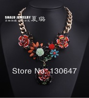 2014 new Multi-colors Big Flower Pendants Bib Statement Necklace for Women Free Shipping