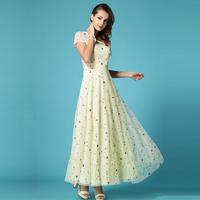 2014 summer organza chiffon one-piece dress elegant patchwork expansion bottom woman full dress floor length dresses