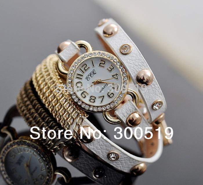JW146 Stylish Retro Rivet Ladies Quartz Watch Wrap Around Bracelet Clock Long Strap PU Leather with Golden Chain Antiqued Design(China (Mainland))