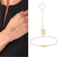Gold-tone Metal Simple charm Snake Slave Chain Hand Harness Bracelet Ring