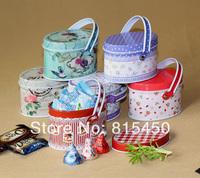 Free shipping 6pcs/lot 2014 New Arrival Creative Mini Elliptical Portable Candy Box Storage Tin Box Floral Style 7.9*5.4*5.3cm