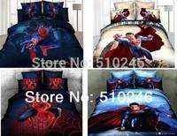 hot sale drop ship 100%cotton superman queen bedclothes bed sheet set bedding set quilt cover set