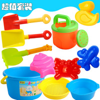 free shipping Child beach toy set 8 piece set sand tools beach bucket hourglass baby sand swimming toys