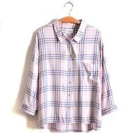 4XL 5XL 3Color Plus Size Casual Women Plaid Blouse Cotton Female Shirt Lady Top Big Large XXXXL XXXXXL 2014 New Spring Summer