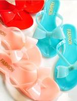 Sweet jelly crystal flip flops bow super-soft flip flops slippers flat-bottomed female slippers
