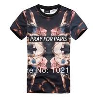 2014 New Style European Summer Pray For Paris 3D Oil Paint Printing Design Brand Short Sleeve Cotton Man T-shirt Clothes M L XL
