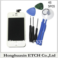 White One tool one order wholesale Lowest Price For iPhone 4S LCD Display + Touch Screen digitizer + Bezel Frame Replacement