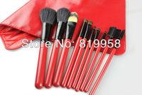 Hot Sale!! 10pcs Make Up Goat Hair Brush Brush Sets With Red Bag