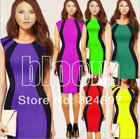 Yellow Neon Green striped patachwork Midi Bodycon pencil dress Celebrity bandage club wear dress party night dresses for Women