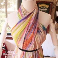 Irregular edges fluorescent color graffiti chiffon scarf shawl flowers
