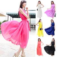 2014 New women's Sleeveless chiffon one-piece dress ,bohemia lacing ruffle beach dress ,plus size S -- XXXL sex dress for women