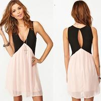 new 2014 Fashion  women  deep V-neck sexy Dresses  open back  sleeveless casual Vintage Mini dress Size S.M.L.XL free shipping
