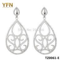 TZ0061-E Best seller Jewelry Fashion 925 Sterling silver micro pave CZ Drop Earrings 55*27mm Elegant Wedding Jewelry for women