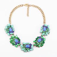 Fashion fashion accessories green gem short design pendant necklace