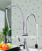 Deck Mounted  Ceramic Single Handle Double Spout Chrome Finish  Brass Body Polish Kitchen Mixer Tap Faucet CM-8525-1/1