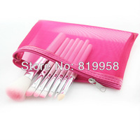 Hot Sale!! 7pcs Synthetic Hair Cosmetic Brush With Pink Bag