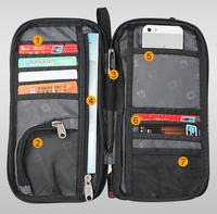 Simple black men and women travel document notes passport bag handbag wallet long wallet card pack  Passport   Multifunction