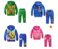 QZ012 Free Shipping 2014 new boys girls hooded sweater + pants children cartoon suit 5Sets/Lot fashion kids cotton set wholesale