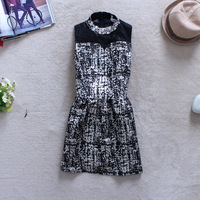 2013 autumn women's elegant ol o-neck diamond lace patchwork basic sleeveless vest one-piece dress