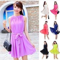 2014 New summer women's mini chiffon dress,plus size S -- XXXL ruffles dress,girl's cute mini dress