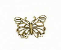 Free Shipping  2014 New 50pcs 66x50mm Ancient Bronze Tone Filigree Butterfly Wraps connectors\Embellishments Findings