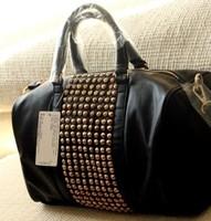 2015 Casual mango black designer brand ladies rivet luxury handbags women bags PU leather new fashion  tote for women