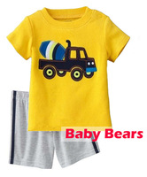 Kids apparel boys clothing sets yellow short sleeve car T-shirts + grey short pants cotton twinsets for 2-7Y free shipping