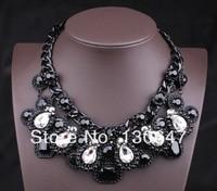 2014 New Brand Black Vintage Crystal Choker Necklaces & Pendants Women Statement Jewelry Fashion Chain Necklace Rhinestone