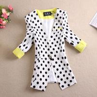Free Shipping New 2014 Spring Fashion Women Slim Polka Dot Half Sleeve Short Small Suit Blazer Jacket Coat Female Outerwear