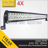 "4 PCS 33"" Inch 180W LED Work Drive Light Bar IP67 12V 24V For JEEP TRUCK TRAILER OFFROAD 4WD ATV 4X4 BOAT SUV FLOOD SPOT COMBO"