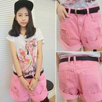 2014 spring super loose denim shorts hole belt female trousers