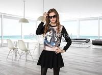 Free Shipping! Hot Sale!New Designer Fashion Summer Women Half Sleeve Blue Tee Shirt +Straight Skirt( 1Set) Tee Skirt Slim Suits
