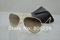 Wholesale 1 pcs fashion designer Gradient Sunglasses Men's / Women's brand sunglasses, Brown gradient glass lenses 3025 /3026