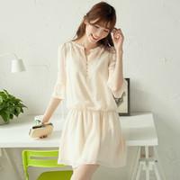 2014 Spring Chiffon Elegant Clothing Three Quarter Sleeve Small Fresh One-piece Dress Summer Chiffon Dresses
