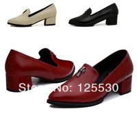 2014 New Arrival Spring Autumn Shoes Women British Style Pointed Toe Leather Metal Cross 3 Colors Free Shipping