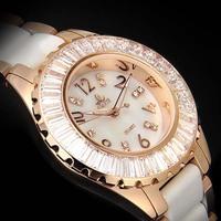 Smays Crystal Luxury Lady Wrist Watch, Golden Rhinestone Ceramic Bling Quartz Watch Ladies Sesigner Wrist watch