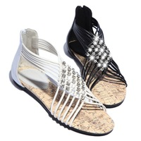 2014 fashion sexy rhinestone knitted cross straps female sandals zipper all-match open toe genuine leather women's shoes