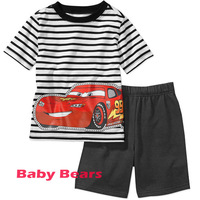 Kids apparel boys clothing sets short sleeve striped car T-shirts + short pants cotton twinsets for 2-7Y free shipping