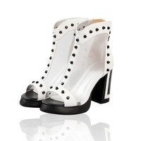 2014 genuine leather gauze sandals gladiator style high-heeled rivet thick heel genuine leather sexy women's shoes free shipping