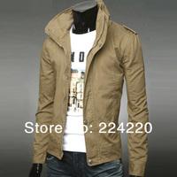 Free shipping new 2014 men's fashion men's jacket collar zip cardigan men's boutique wholesale winter dress