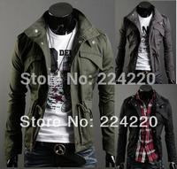 Free shipping men's winter jacket collar cardigan jacket drawstring waist wholesale men's casual jackets