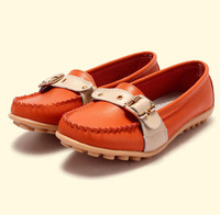 SUNROLAN women genuine leather flats round toe metal decorated sneakers casual all-match wholesale woman shoes 3021