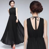 2014 summer female fashion Sexy backless chiffon dress,7 color elegant halter-neck dress ,plus size S -- XXXLdress
