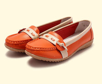 SUNROLAN mixed-color women genuine leather flats casual slip-on sneakers all-match fashion walking shoes 519