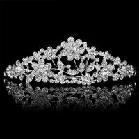 Silver Plated Lady Clear Shiny Rhinestone Crystal Flower Crown Tiara Wedding Bridal Party Hair  Accessary
